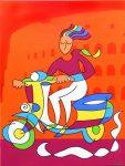 Vespa Girl (Orange Version)