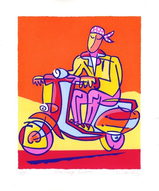 Orange Scooter Print