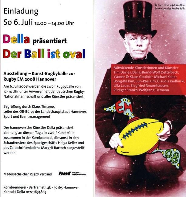 Rugbyball Kunst Einladung