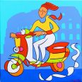 Vespa Girl (Blue Version)