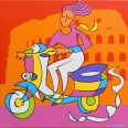 Vespa Girl (Magenta Version)