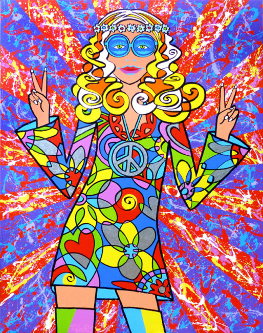 Flower Power large painting a